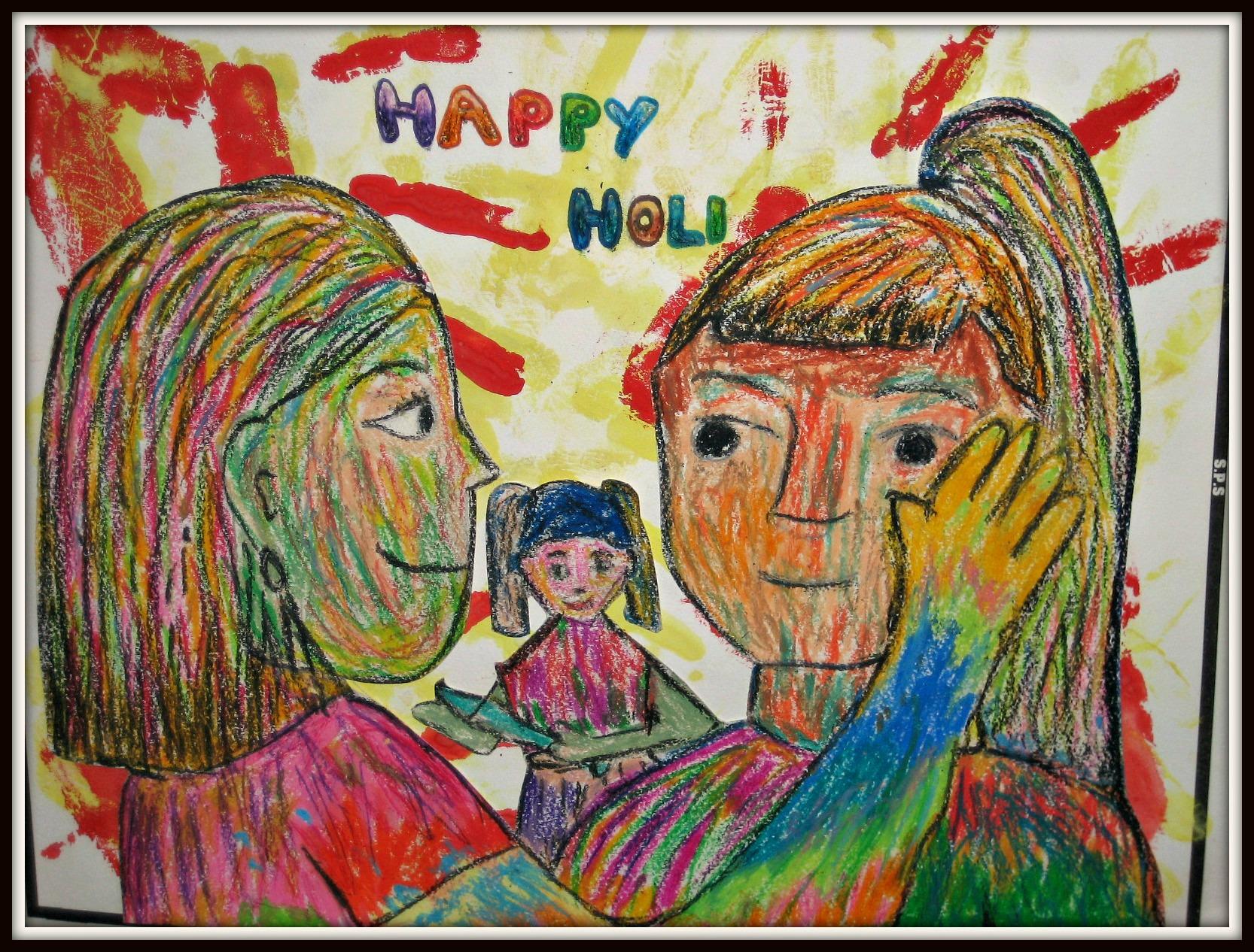 Girls applying Holi colours