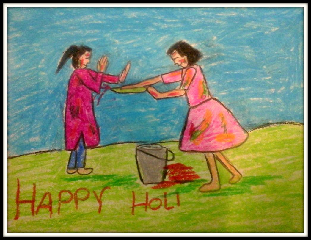 Two girls playing Holi