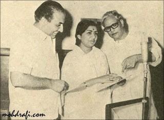 Majrooh Sultanpuri with Lata Mangeshkar and Mohd Rafi (Pic: Mohdrafi.com)