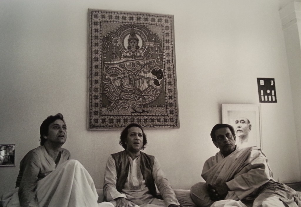 Three masters at Ravi Shankar's residence in 1978 at Benares