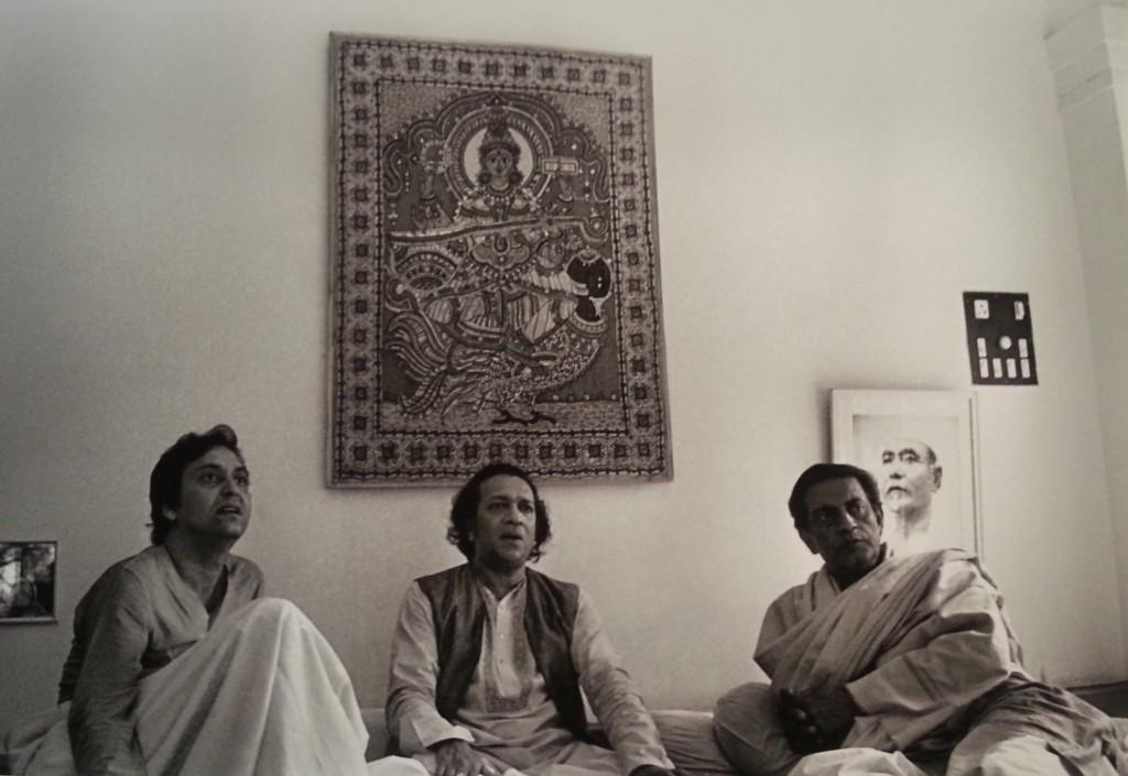 Three masters at Ravi Shankar's residence in 1978 at Benares