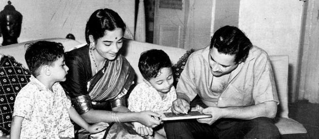 Geeta Dutt and Guru Dutt with their sons