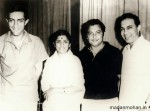 Madan Mohan with Lata Mangeshkar and Talat Mehmood and Mansoor Ali Khan Pataudi