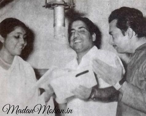 Asha Bhosle and Mohd Rafi with Madan Mohan