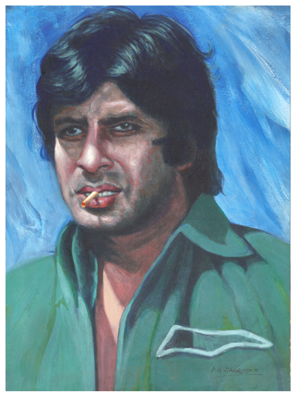 rare Deewar artwork of Amitabh Bachchan