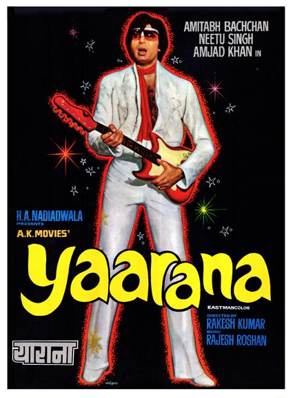 rare poster of Yaarana, with Amitabh Bachchan