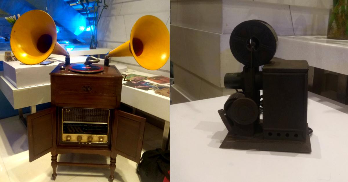 Vintage gramophone, radio and film editing machine