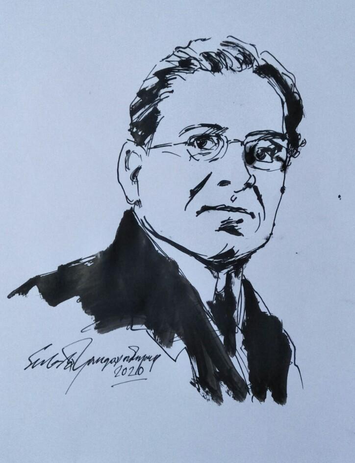 sketch of Dada Saheb Phalke by Subrata Gangopadhyay