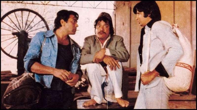 Dharmendra, Jagdeep and Amitabh Bachchan in Sholay