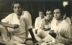 Satyajit Ray with Ravi Shankar during recording of Pather Panchali music