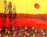 The beautiful red sun on his way to rest behind horizons
