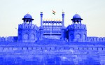 The Red Fort was blue in colour and it was so big.