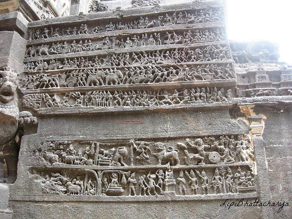 Samudramanthan and Ramayana panels - Kailash Cave, Ellora