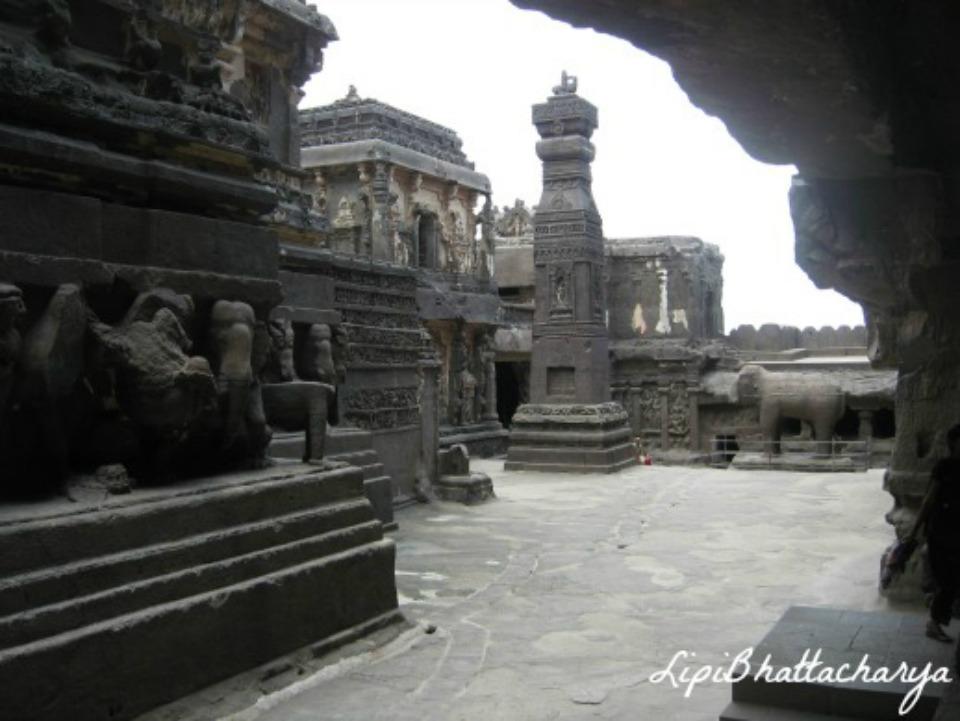 The Kailash Cave, Ellora - courtyard entrance