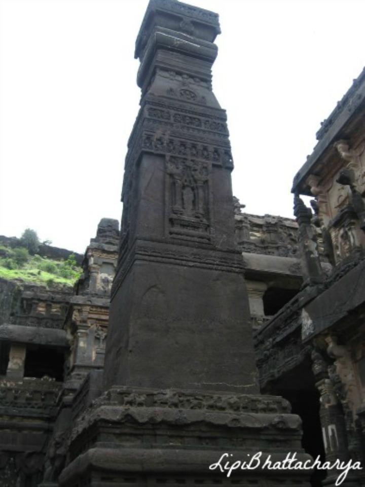 Manastambha (a monolithic pillar) - Kailash Cave, Ellora
