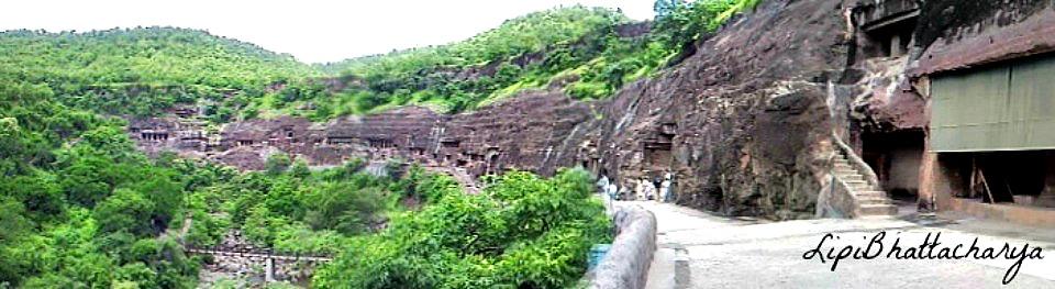 Ajanta Caves - Panoramic view