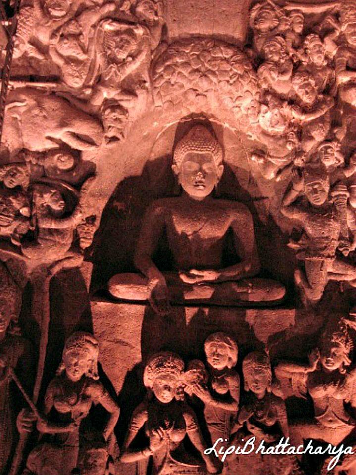 Ajanta Caves - Buddha preaching to disciples
