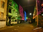 Lighted houses during during Durga Puja
