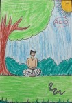 Swamiji meditating in forest, where a snake appears but goes away on its own without biting him