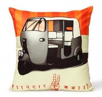 Jalebi Auto Rickshaw Cushion Cover