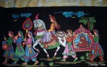 The groom escorts his newly wed bride to her new home, as the musicians play along (embossed painting)