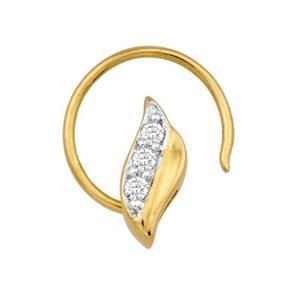Ag Real Diamond 3 Stone Leaf Shape Nose Ring