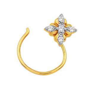 Ag Real Diamond 5 Stone Flower Shape Nose Ring