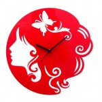 Crysto Red Butterfly Girl Wall Clock