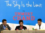 "Rahul Dravid along with Sanjay Manjrekar released Unmukt Chand's book ""The Sky Is The Limit – My Journey To The World Cup"""