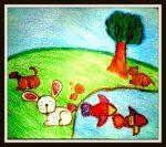 oil pastels art by kids