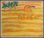 Desert in oil pastels (art by kids)