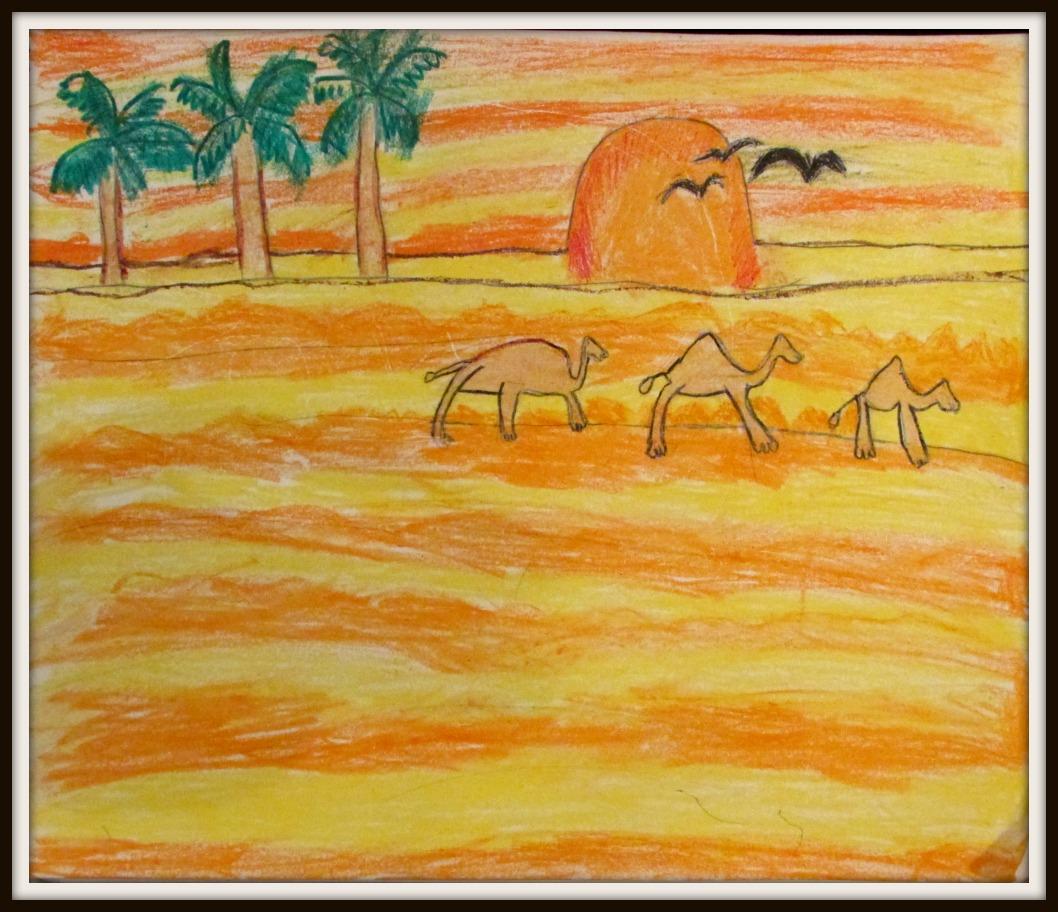 Desert in oil pastels (art by kids)