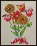 Flowers in oil pastels