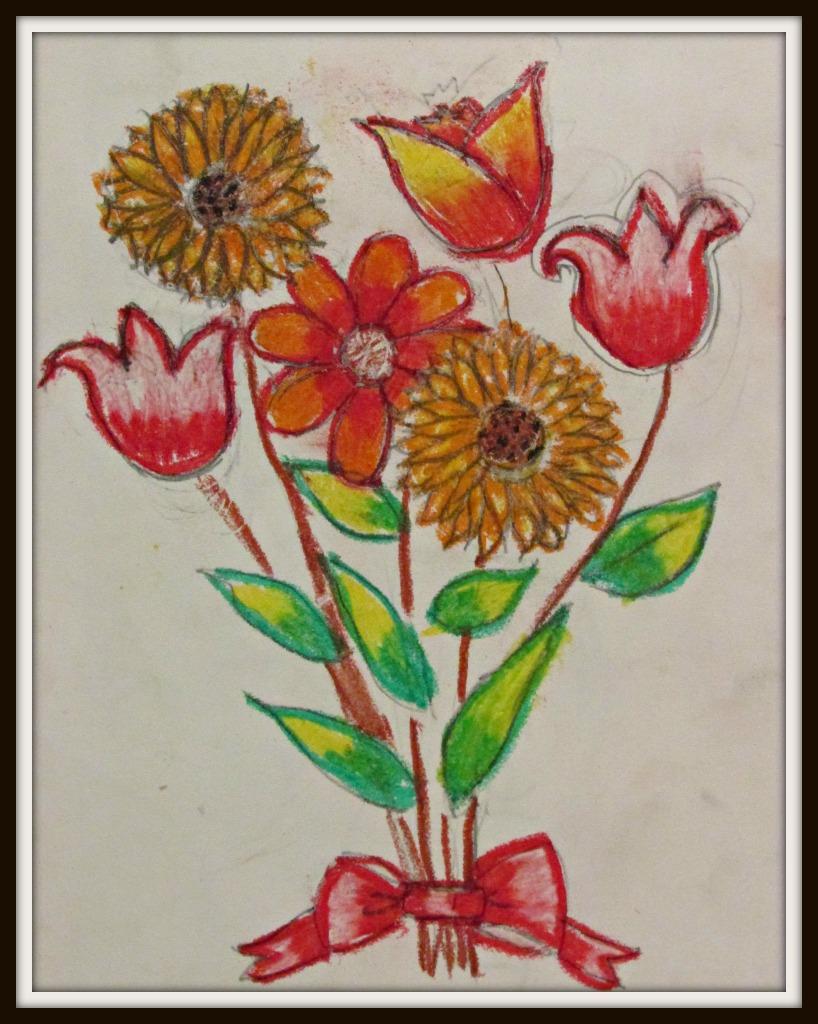 art by kids flowers in oil pastels