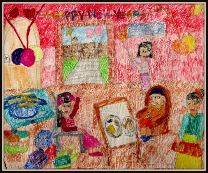 Happy New Year celebrations (art by kids)