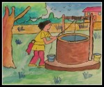 Lady and the water well