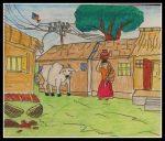 Village woman carrying milk