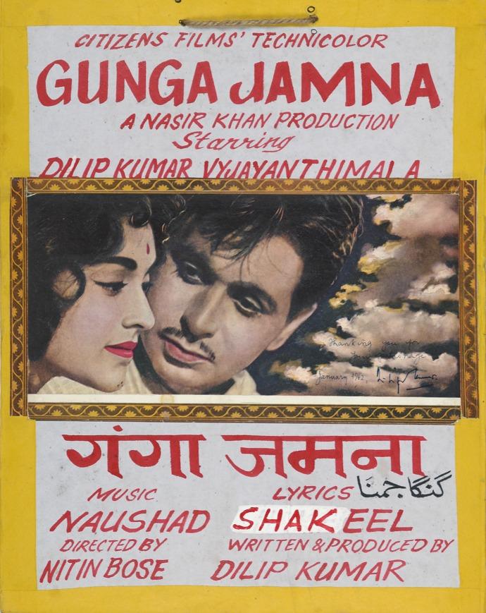 Original hand painted movie poster of Gunga Jamna (1961)