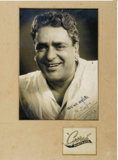 Hand Signed Studio Portrait of Prithviraj Kapoor, 1956 ...
