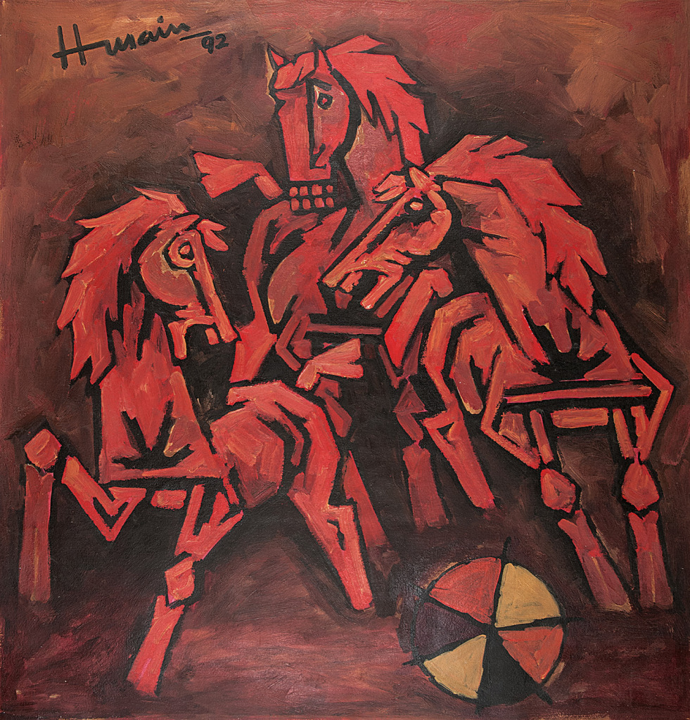MF Husain's 3 Horses (Oil on canvas, 1992)