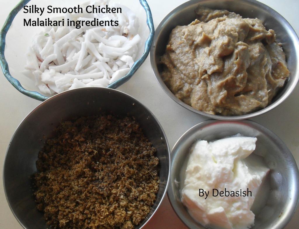 Silky Smooth Chicken Malaikari ingredients