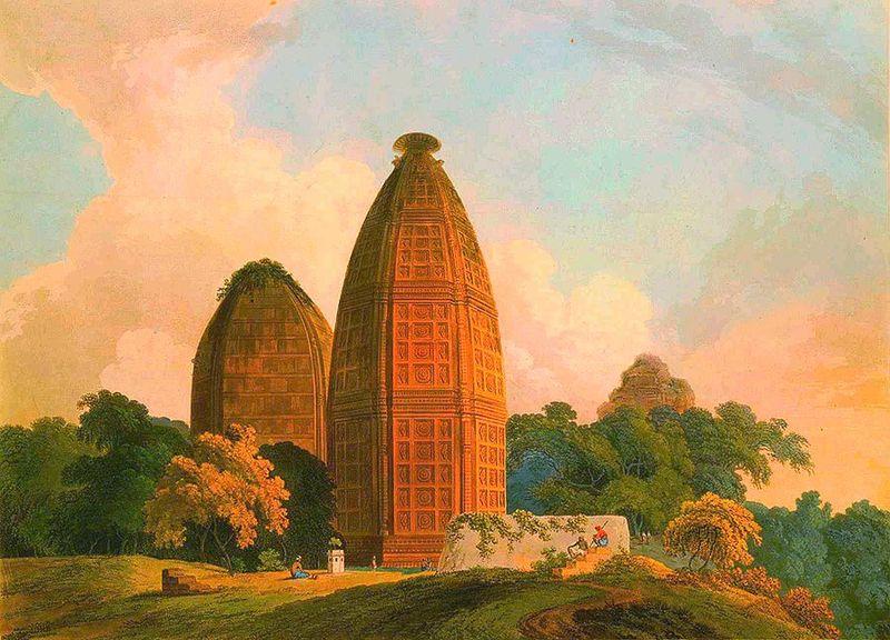 Madana Mohana Temple in Vrindavan, India on Thomasa Daniell's painting