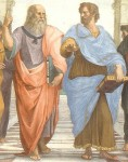The School of Athens by Raffaello Sanzio, 1509, showing Plato (left) and Aristotle (right) Raphael showing Plato (left), pointing up to the ideals, and Aristotle (right), reaching out towards the physical world. (Pic: Wikimedia Commons)