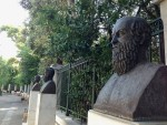 These busts of the Ancient Greek theatrical writers Euripides, Aeschylus and Sophocles are in front of the National Garden and were moved from Kotzia square in Athens. (Pic: Wikimedia CC0)