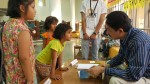 Chatting with children at Bookaroo, Children's Literature Festival
