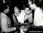 (L to R) Anil Biswas with Lata Mangeshkar, Madan Mohan and Talat Mahmood