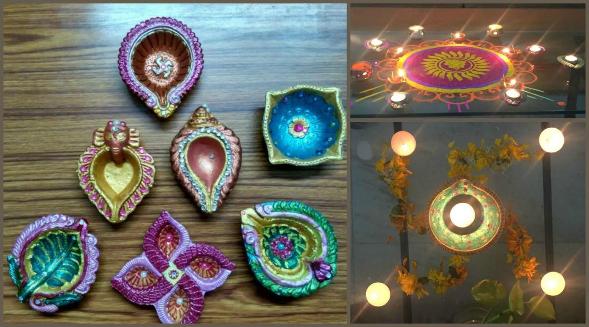 Handpainted diyas by kids for Diwali