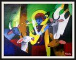 Krishna in Vrindavan – Acrylic on Canvas