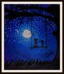 Birds on swing Watch the stars in the sky Can we reach the moon, they wonder. Of course, if we try.