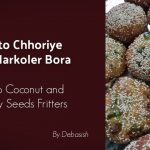 Posto Chhoriye Alu Narkoler Bora-Potato Coconut and Poppy Seeds Fritters recipe